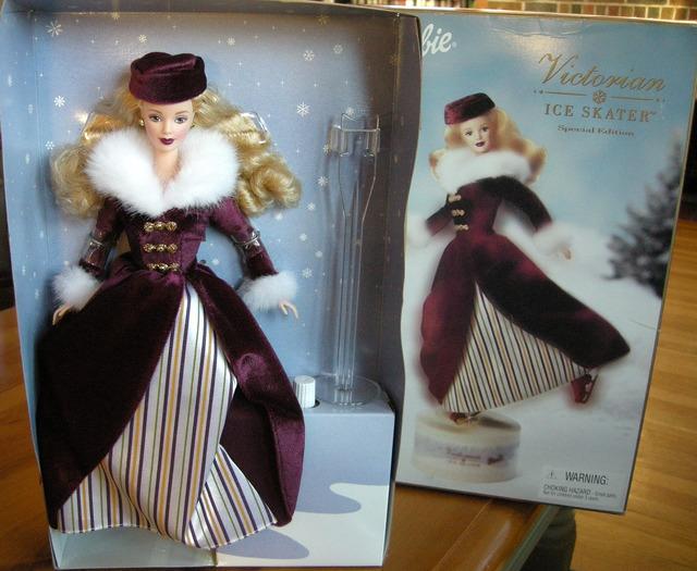 Victorian Ice Skater Barbie in stripes