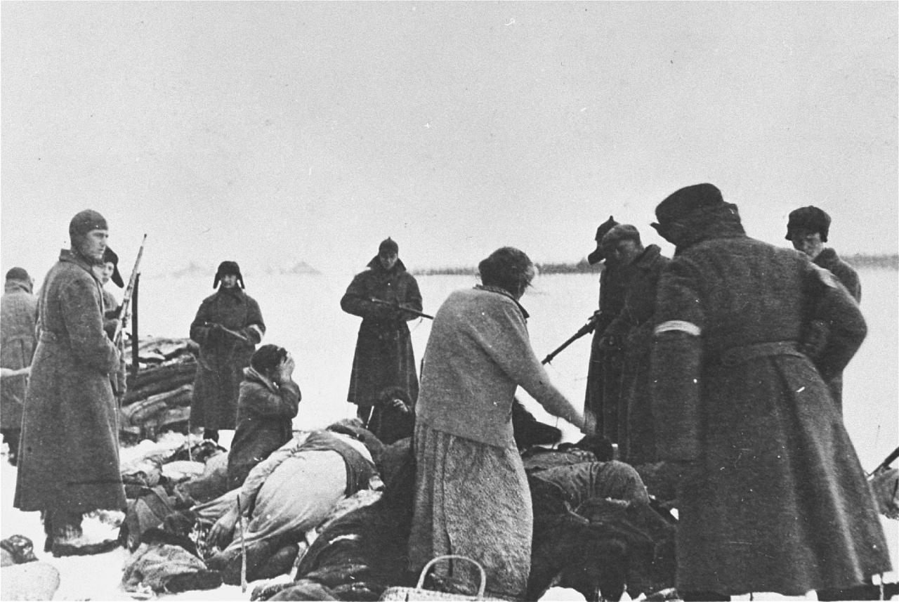 Солдаты украинской вспомогательной полиции (с белыми повязками) под присмотром немцев готовятся к расстрелу евреев в Чернигове. 1942.