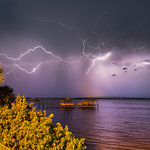 14. Juuni 2018 - 21:01 - Lightning over the Indian River Lagoon and the Pineda Causeway.   (Three frame composite captured tonight, June 14, 2018, by Michael Seeley)