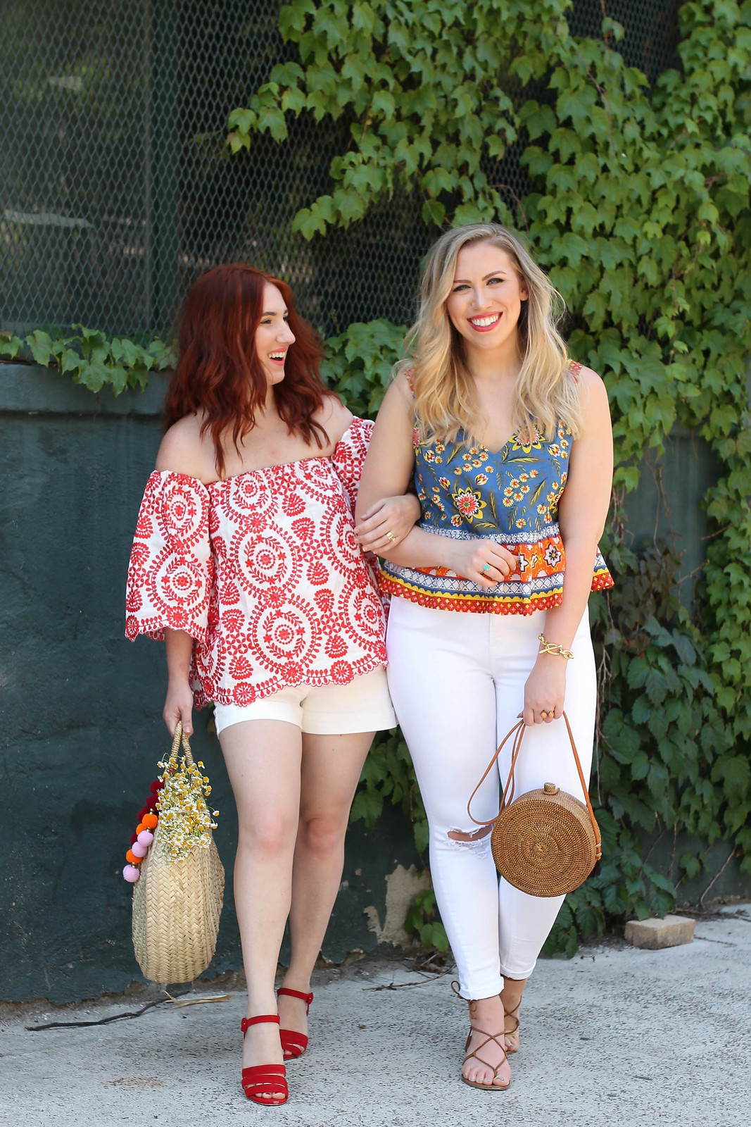 Colorful Summer Blouse White Jeans Straw Bag Outfit Inspiration Summer Style Outfit Inspiration