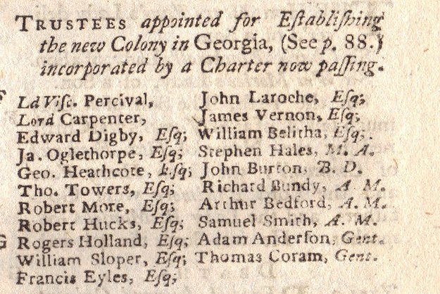 List of the original Georgia Trustees from the Royal Charter of 1732.