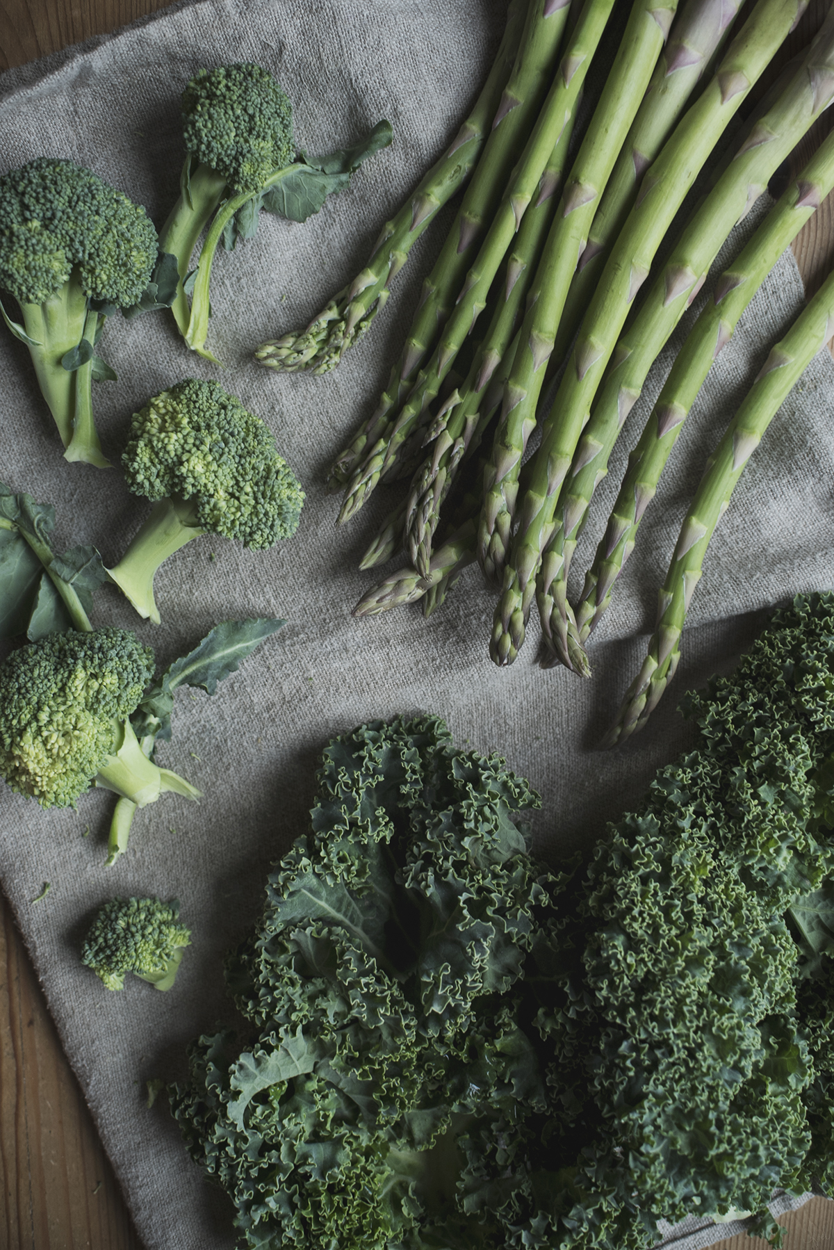 steamed kale, broccoli & asparagus with cumin roasted carrots