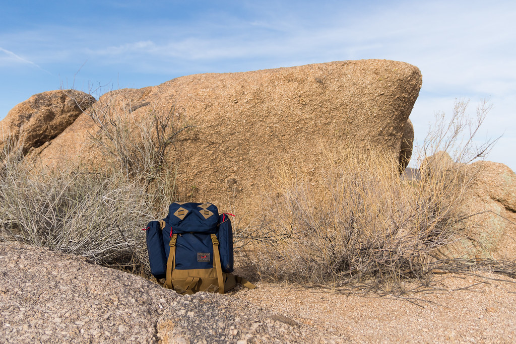 The Tom Bihn Guide's Pack next to one of the many rock formations in Brown's Ranch in the McDowell Sonoran Preserve