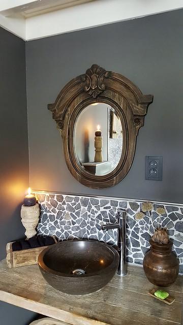 Badkamer ossenoogspiegel landelijke stijl