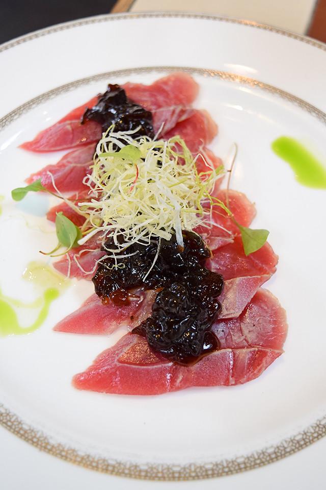 Tuna with Truffle Infused Ponzu Jelly at Yashin Ocean House, Kensington #sushi #london #kensington