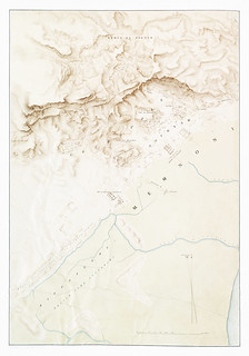 Topographic map of the ruins of Thebes from Histoire de l'art égyptien (1878) by Émile Prisse d'Avennes (1807-1879). Digitally enhanced by rawpixel.