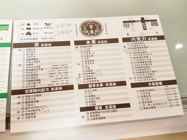 Miyahara Ice Cream Parlour Menu - Chinese Mandarin
