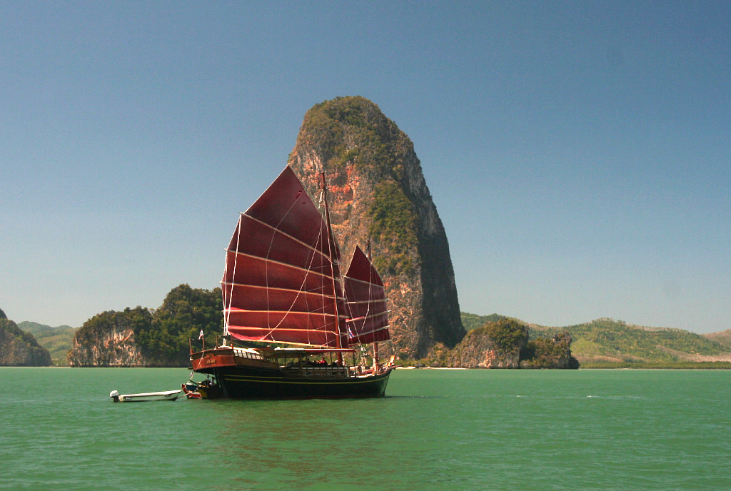 Thai junk in Phang Nga Bay, Thailand.