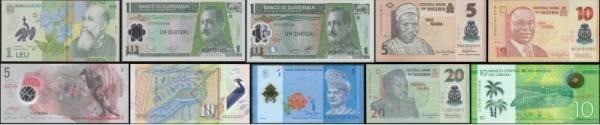 10 rôznych polymerových bankoviek svet