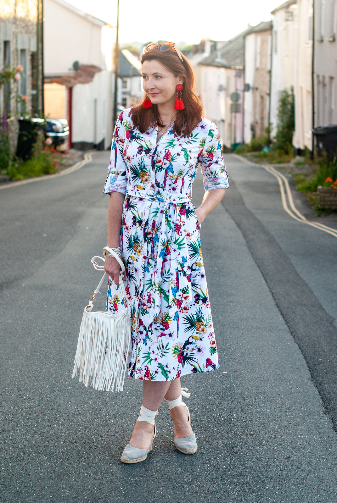 Florals With a Twist | A Loud Birds & Botanical Print \ botanical print midi shirt dress \ grey lace-up espadrilles \ red tassel earrings \ white fringed crossbody bag | Not Dressed As Lamb, over 40 style