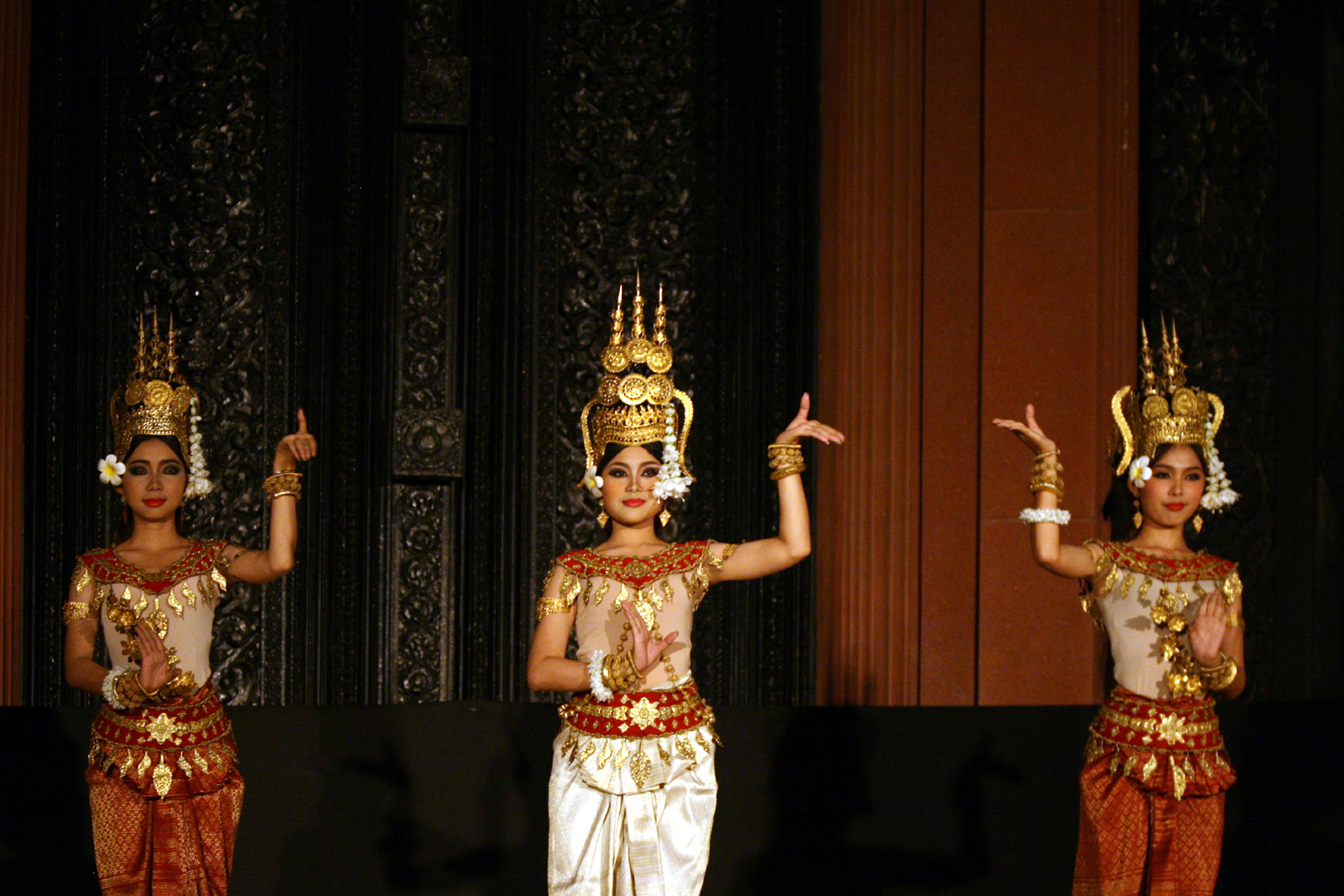 Apsara dancers at the Bassac Theatre in Phnom Penh. Photo taken by Remi Jouan on January 5, 2012.