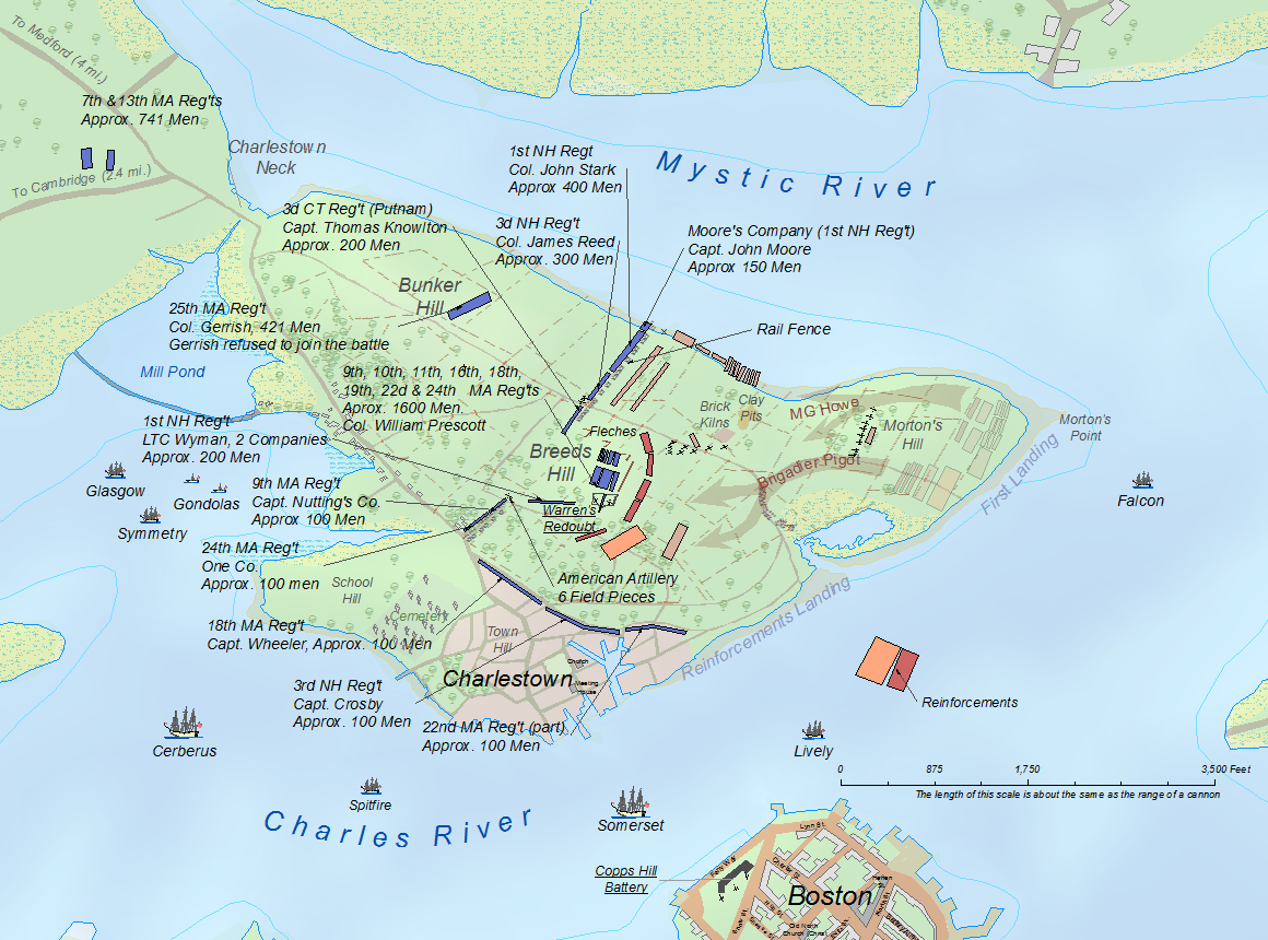 This map is derived from a larger printed map at the Library of Congress (G3764.B6S3 2004 .F7) and was made to illustrate the positions of the American forces at the outset of the Battle of Breeds Hill.