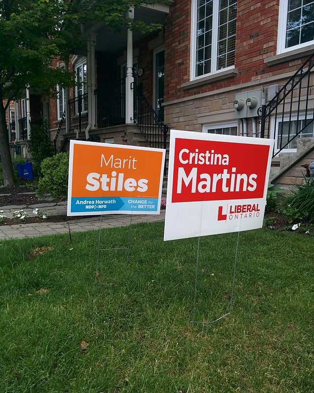 The choice in Davenport, seen on my way to vote #toronto #dovercourtvillage #bartlettavenue #davenport #onpoli #elxn2018 #ndp #maritstiles #liberal #cristinamartins