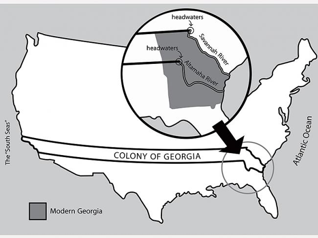 The Georgia Colony originally extended all the way to the Pacific Ocean (