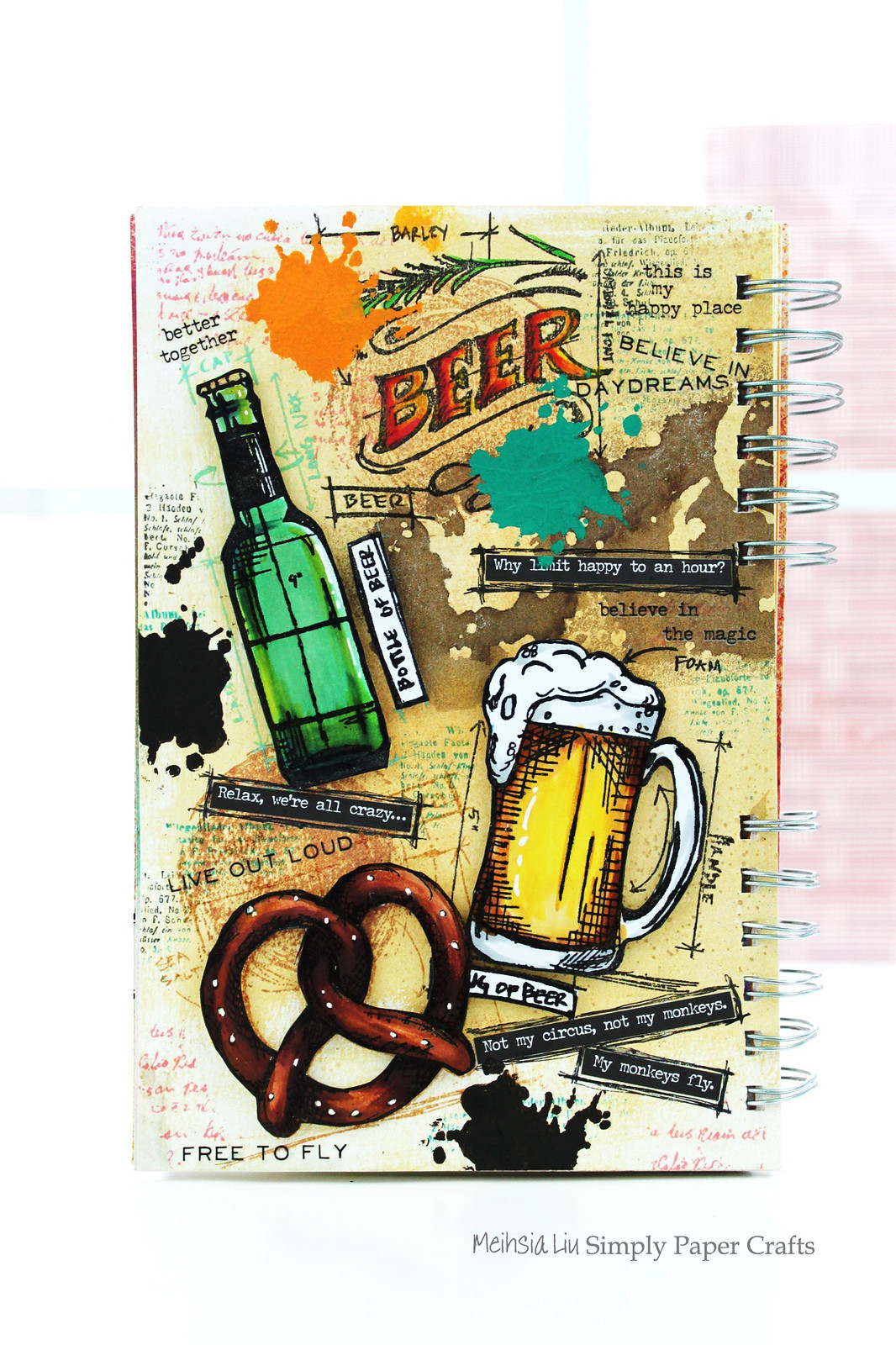 Meihsia Liu Simply Paper Crafts Mixed Media Tag Food Drink Beer Simon Says Stamp Tim Holtz