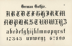 German gothic fonts from Draughtsman's Alphabets by Hermann Esser (1845–1908). Digitally enhanced from our own 5th edition of the publication.