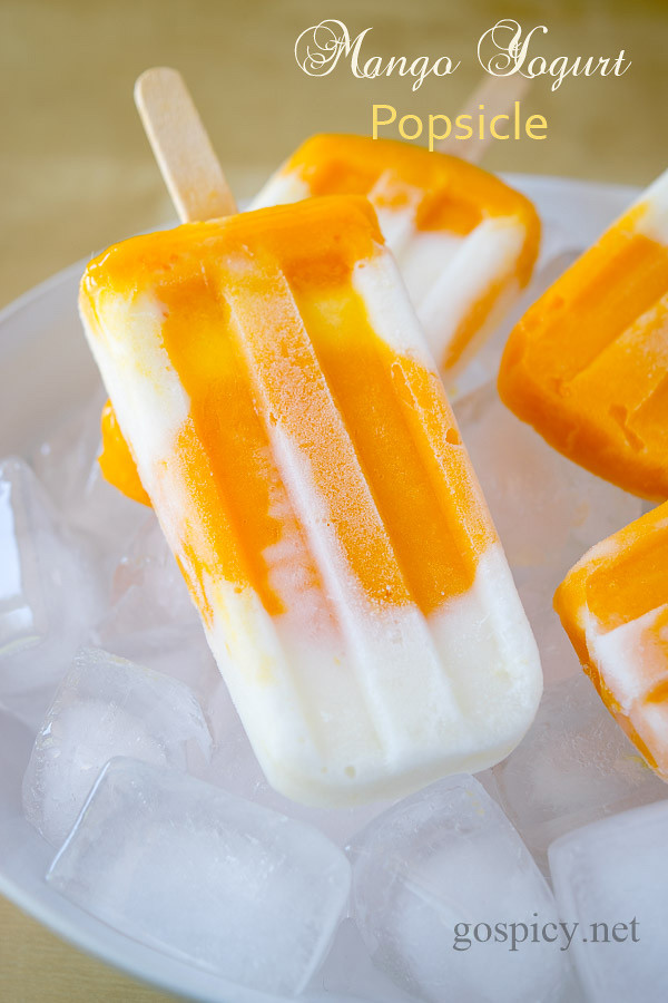 Mango Yogurt Popsicles Recipe by GoSpicy.net/