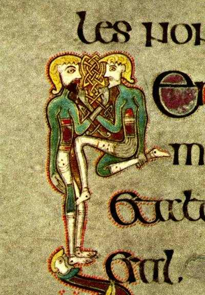 Beard-pullers from the Book of Kells