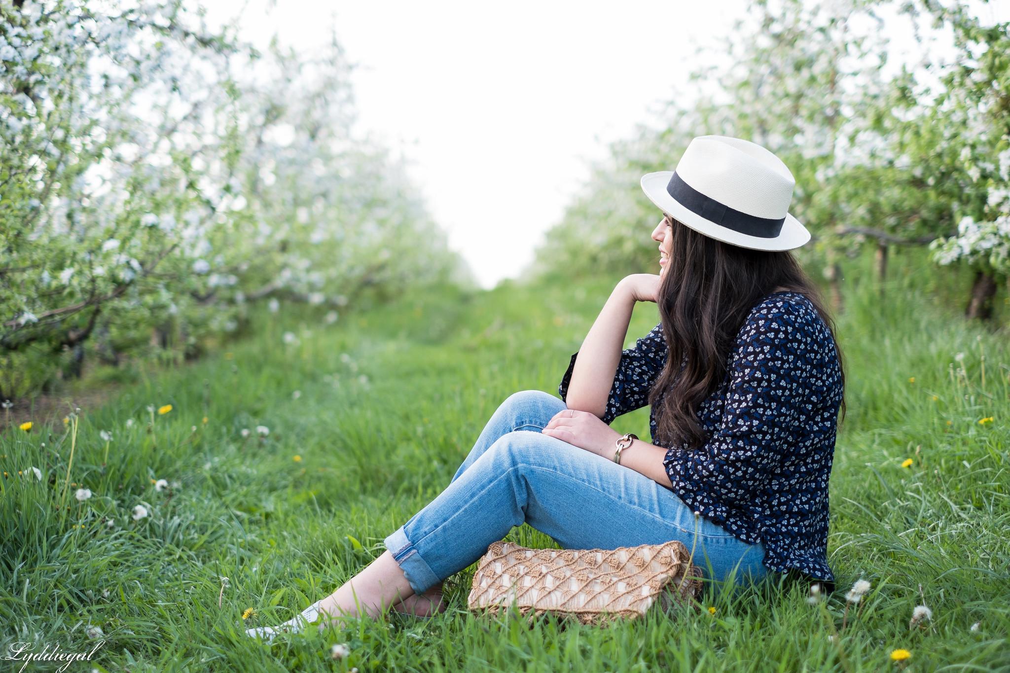 blue floral blouse, boyfriend jeans, loafers, macrame bag, panama hat-18.jpg