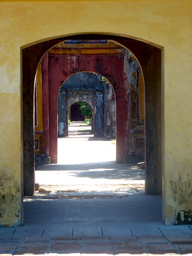 A view  through a series of gates at the Historical Hue Imperial City