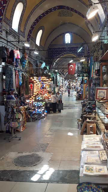 Indoor market with decorative ceiling. Grand Bazaar, Istanbul, Turkey