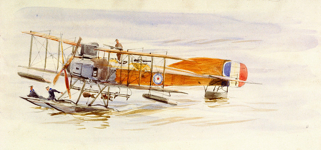 A Short Type-184 seaplane of the Royal Naval Air Service, afloat, possibly at Calshot (1915-18) Wyllie, William Lionel.