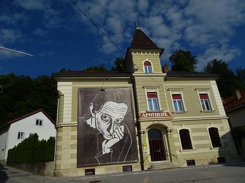 Pliberk/Bleiburg, Carinthia, state of Austria (the art of public places of Bleiburg), 10. Oktober Platz/Schlossgasse (in memoriam Werner Berg)