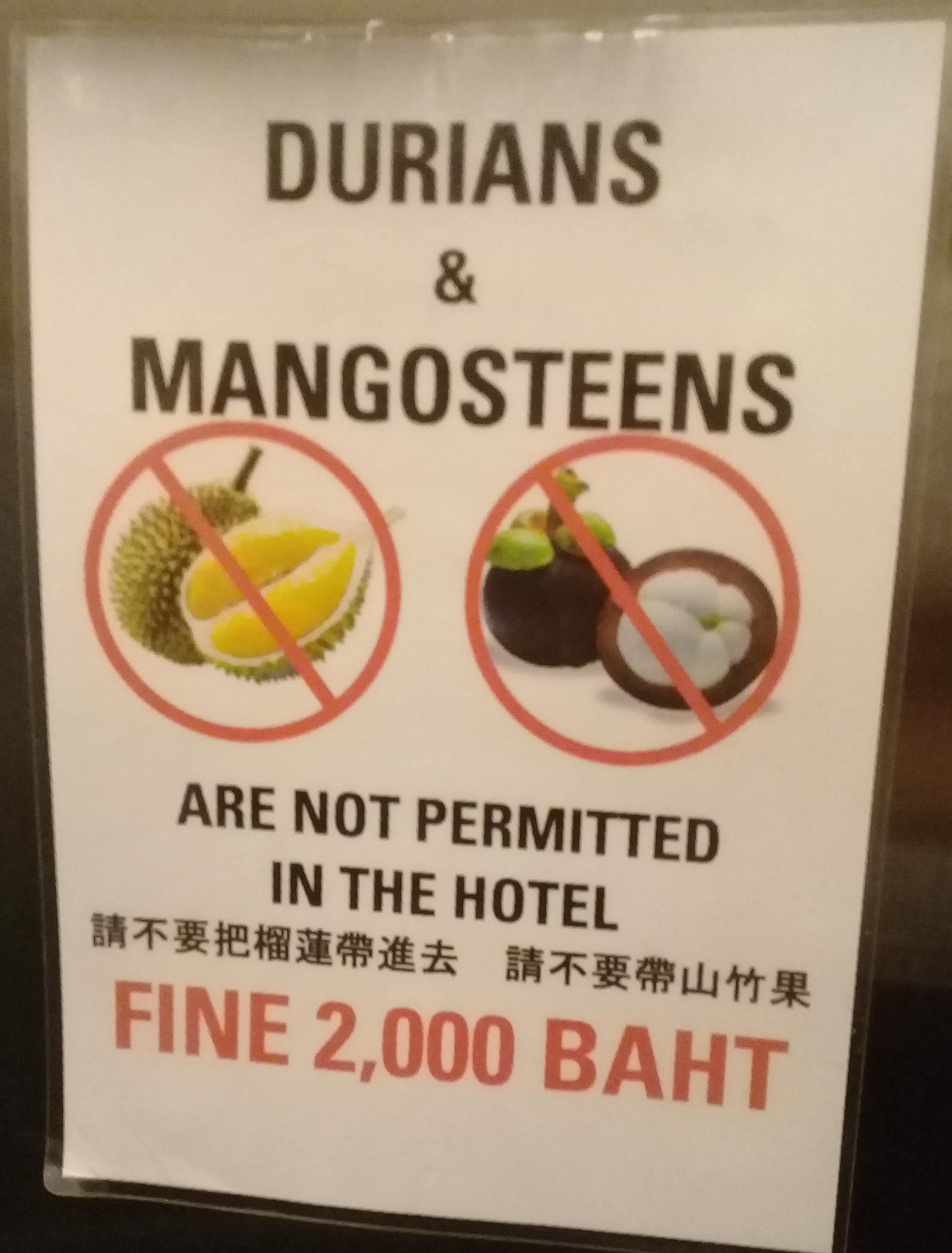 Anti-durian and mangosteen signage seen on a hotel elevator in Karon, Phuket, Thailand. Photo taken by Mark Joseph Jochim on June 6, 2018.