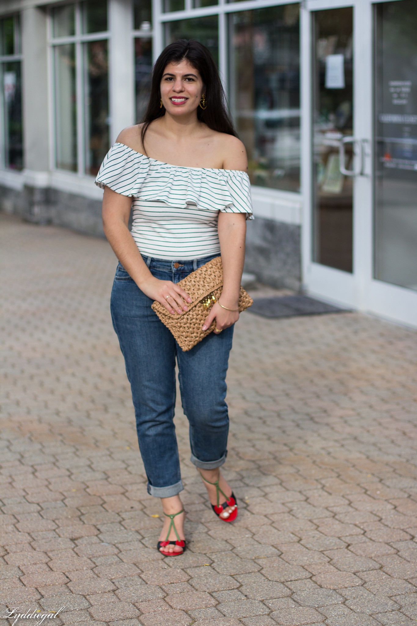 striped bodysuit, boyfriend jeans, cherry shoes-6.jpg