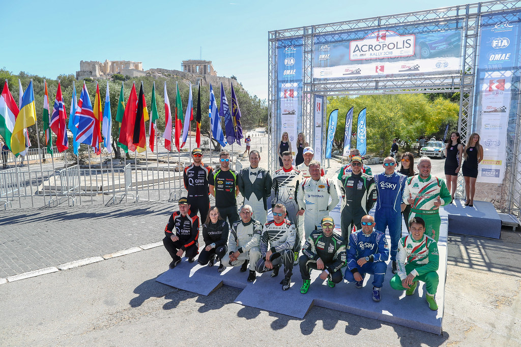 Drivers and Codrivers on the podium start with the Parthenon during the European Rally Championship 2018 - Acropolis Rally Of Grece, June 1 to 3 at Lamia - Photo Alexandre Guillaumot / DPPI