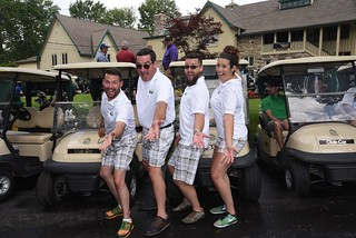 Mon, 06/04/2018 - 11:49 - Chairperson Scott Gardner (left) and his 2017 scramble teammates who are dressed in matching golf attire created especially for the Cougar Classic