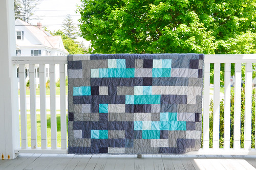 Mine-craft Inspired Diamond Ore Throw Quilt