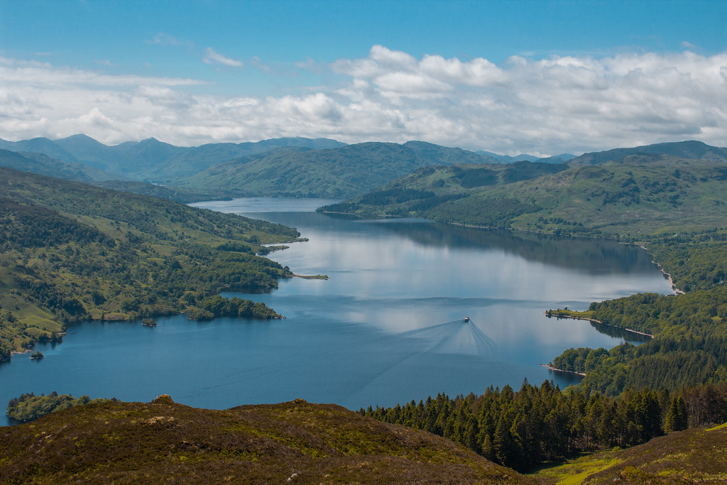 View over Loch Katrine from the top of Ben A'an