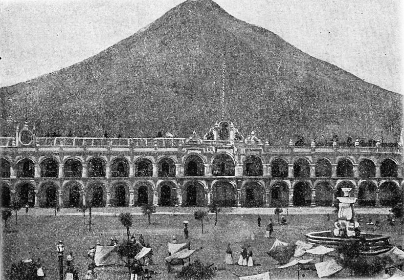 General Captaincy of Guatemala Palace after its façade was rebuilt. Taken from Geography of Central America By Dario Gonzalez published in 1896.