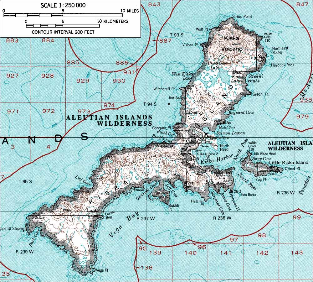 Map of Kiska Island, Alaska