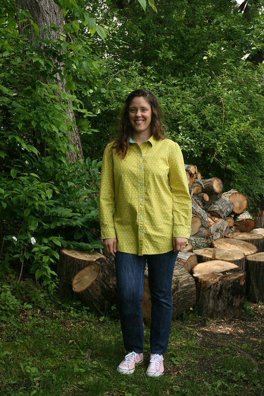 Simplicity 1538:  my TNT shirt pattern in raindrop Cotton and Steel fabric