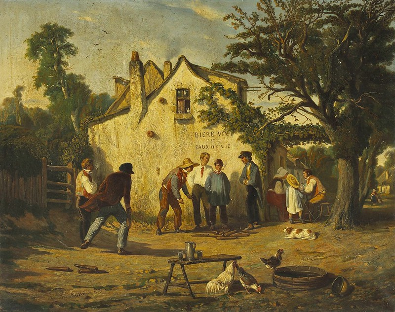 Félix Saturnin Brissot de Warville - A French provincial scene with figures playing a stick game outside