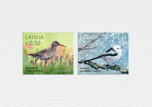 Pastmarkas Latvijas putni - Pļavu tilbīte un Garastīte