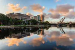 Beautiful Clouds Reflected at Sunrise from Julian Lane Park in Tampa