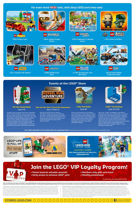 LEGO June 2018 Store Calendar Back