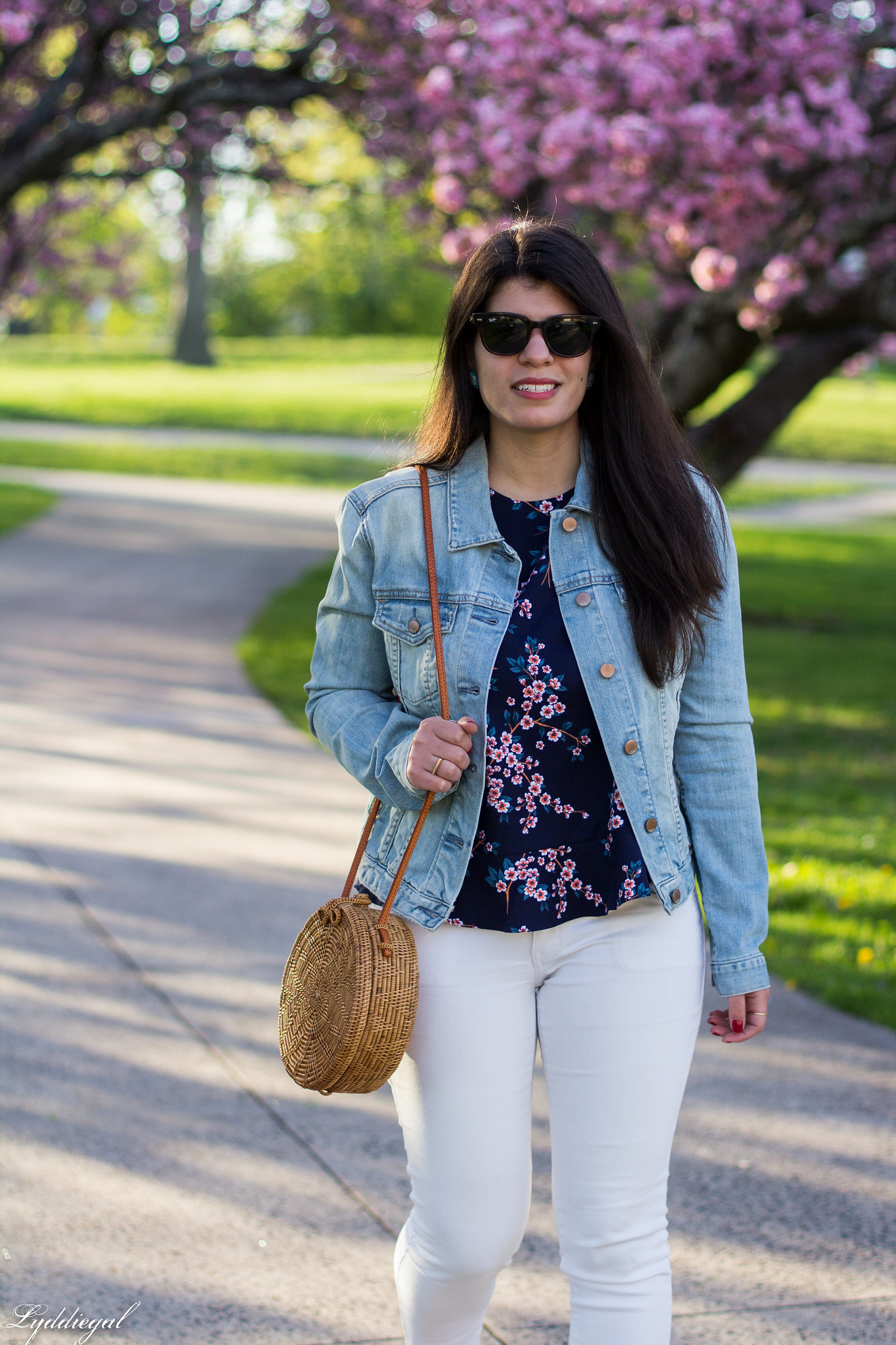 denim jacket, cherry blossom print blouse, white jeans, blue loafers-9.jpg