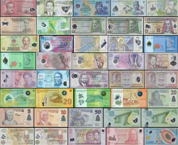 40 rôznych polymerových bankoviek svet