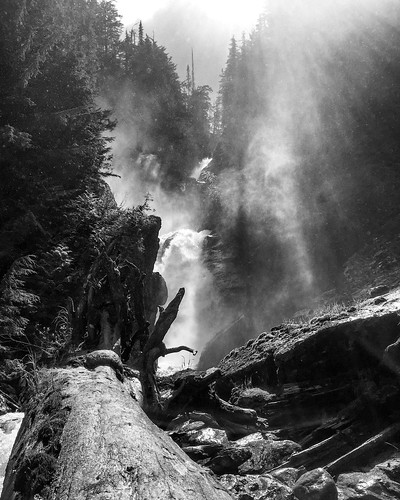 day clouds rain forest bearcreek stones trip spring summer trail hike waterfall wet creek river branches fallen stump free rocks britishcolumbia canada monashee rockies mountains blackandwhite sun most water falls