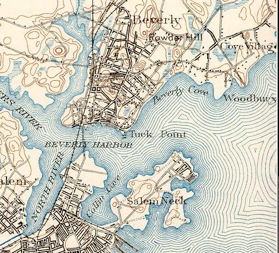 An 1898 topographic map of Beverly, Massachusetts, a claimant for the title of the Birthplace of the U.S. Navy (along with Marblehead, Massachusetts).