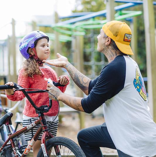 Dad and Learner Biker
