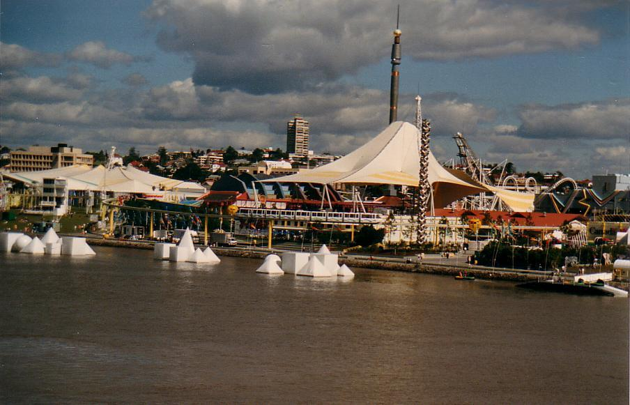 World Expo '88 photographed from the Victoria Bridge on the Brisbane River in Brisbane, Queensland.