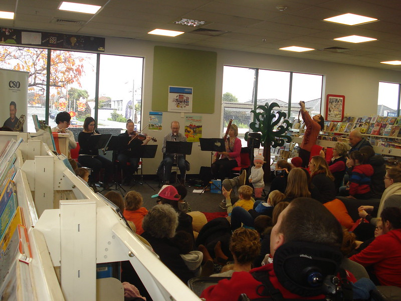 CSO woodwind ensemble, Shirley Library
