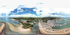 The Rainbow Bridge over Anahulu Stream, Haleiwa Town and the Haleiwa Boat Harbor - an aerial 360 Equirectangular VR from 143 feet