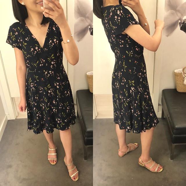 Ann Taylor Floral Ruffle Wrap Dress, size 0P