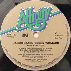 GABOR SZABO, BOBBY WOMACK:HIGH CONTRAST(LABEL SIDE-B)